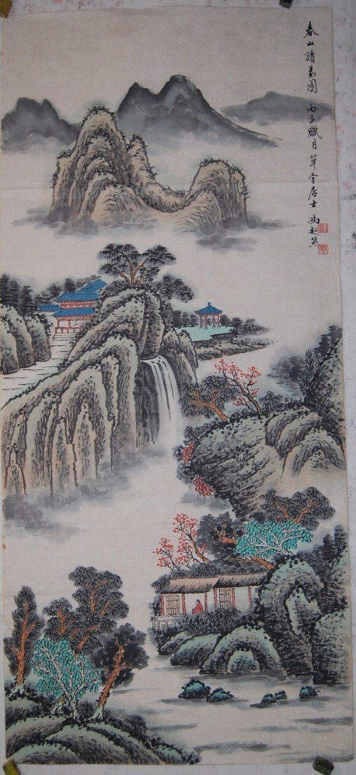 4072: A very fine Chinese painting by Feng,Zhaoran