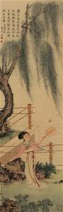 4124: Very fine Chinese   mounted   painting attributed