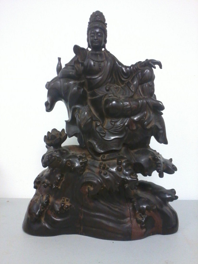 3318: Extra large  Chinese wooden Guanyin sculpture