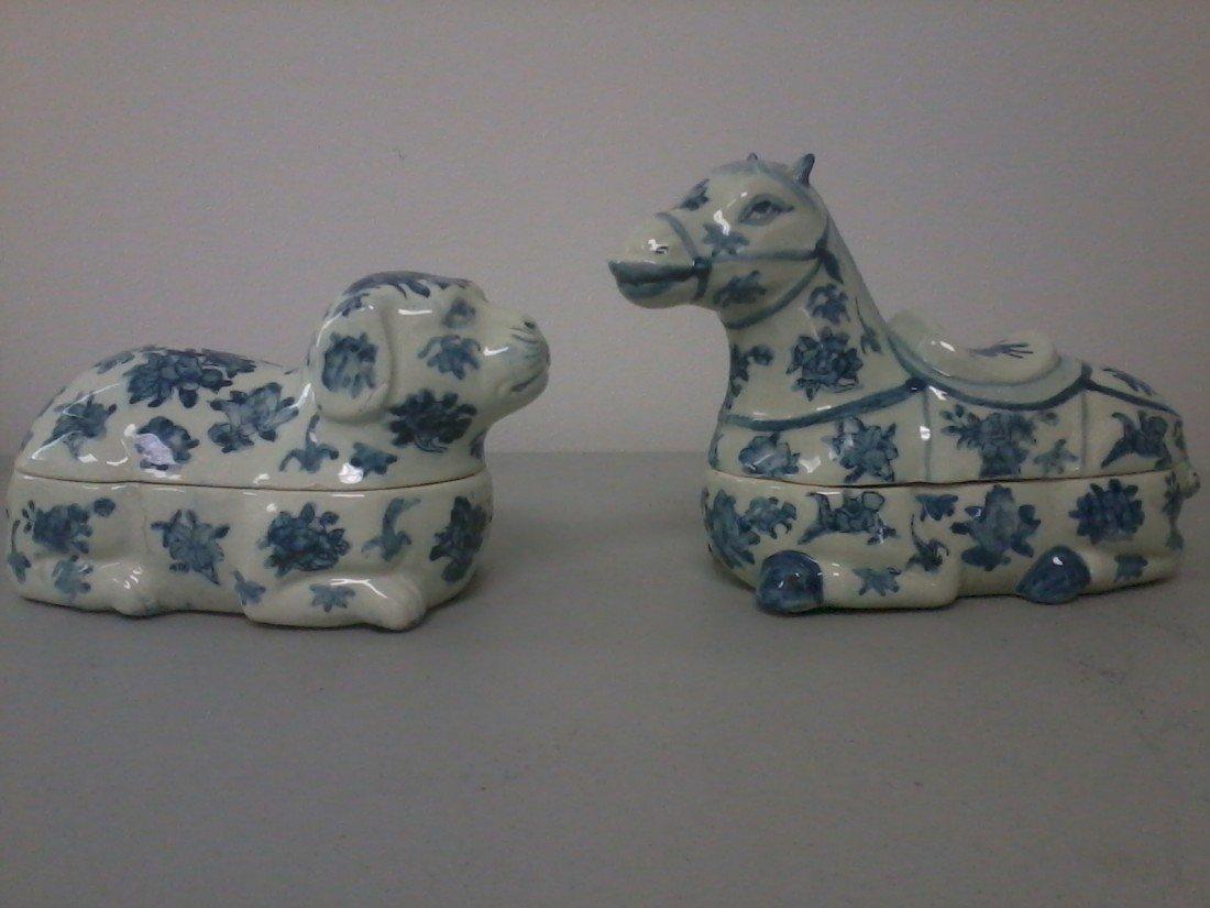 3326: Pair  of porcelain animals