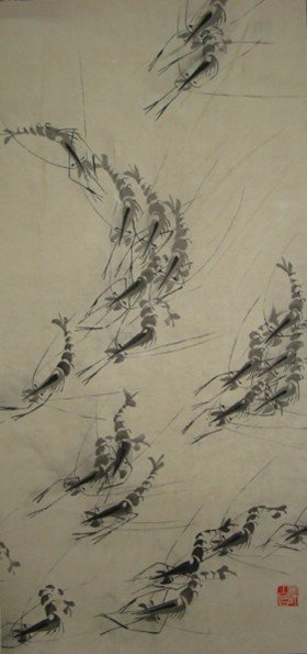 3373: Very fine Chinese painting by After Qi,Baishi
