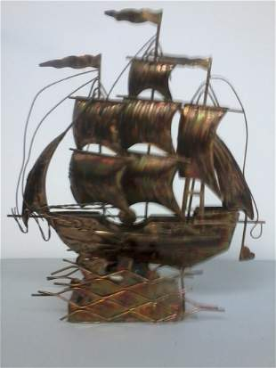 Copper plated music box sail boat