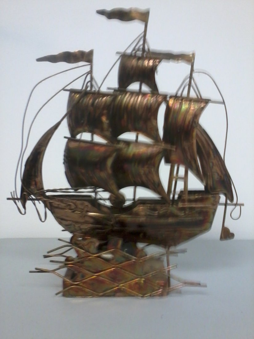 6015: Copper plated music box sail boat