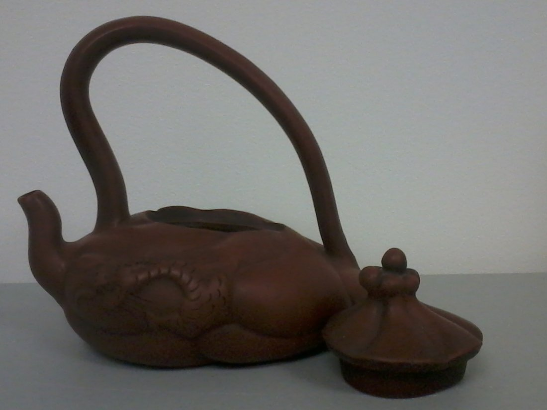 7001: Very nicely carved Chinese  swirl pottery teapot  - 2