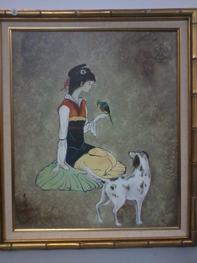 7015: Fine Chinese oil  painting in frame  by yung Chu