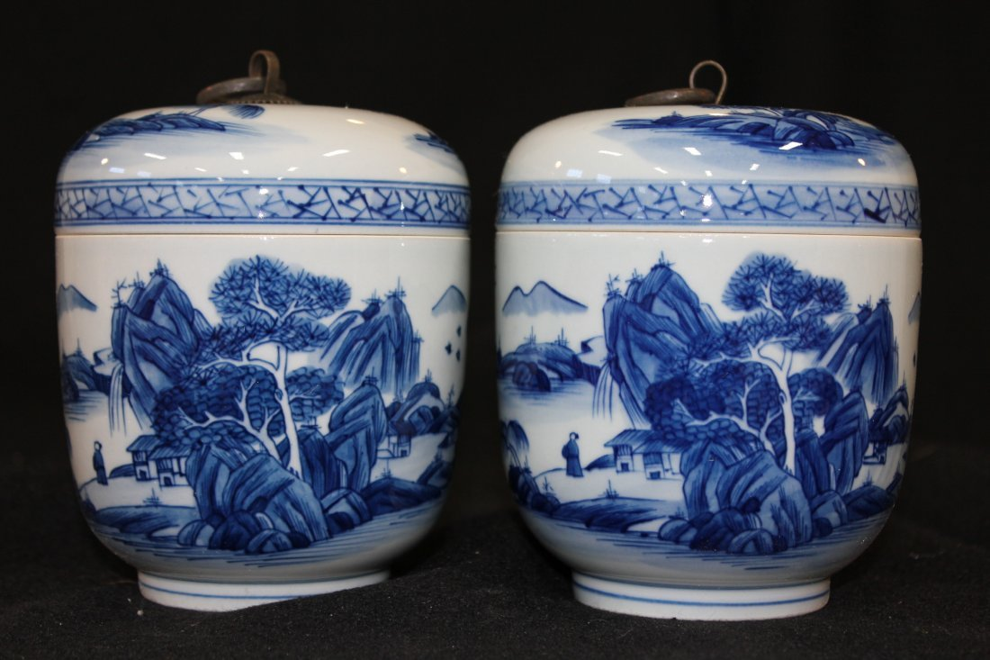 7065: PAIR OF CHINESE PORCELAIN COVERD JARS