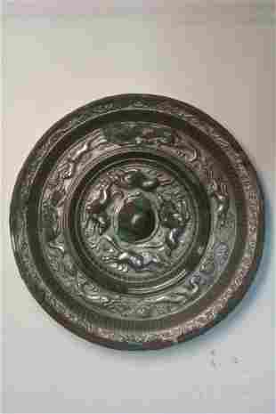 Very fine Chinese Tang dynasty bronze mirror