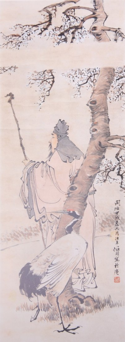 1005: A very fine Chinese scroll painting attributed to