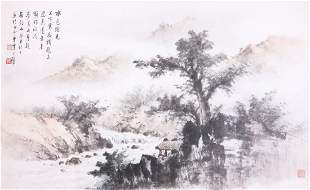 A very fine Chinese scroll painting attributed to