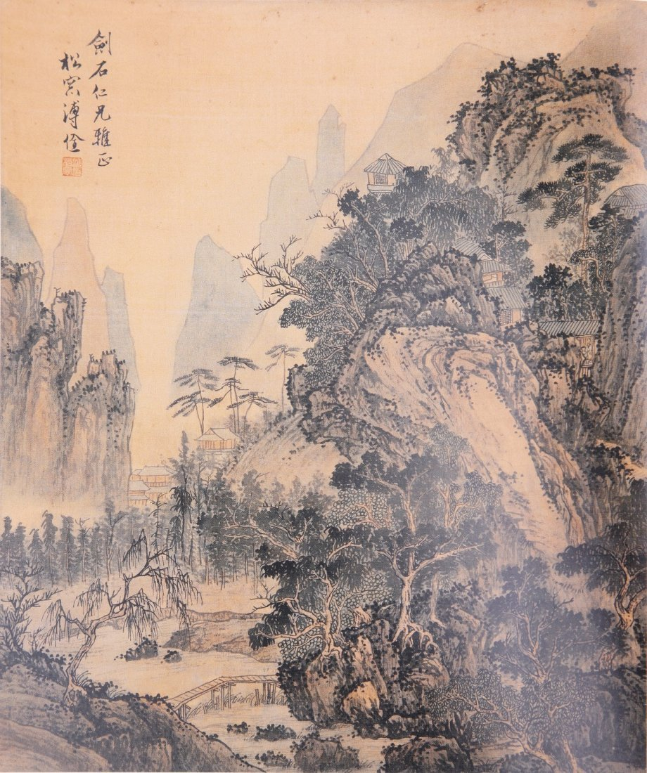 1013: A very fine Chinese scroll painting attributed  t