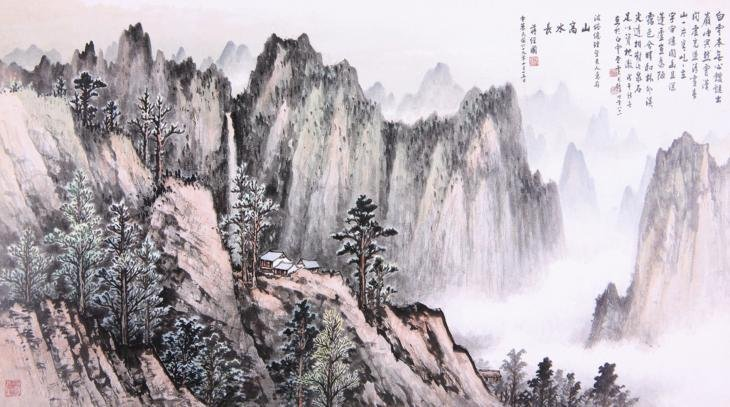 2181: A very fine Chinese painting  by  Jiang Jingguo