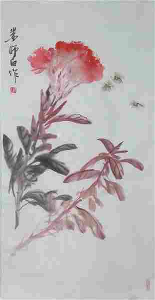 A very fine chinese painting by Lou Shibai