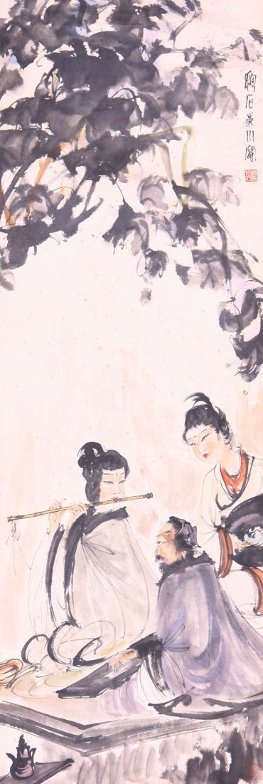 very fine chinese painting by fu baoshi