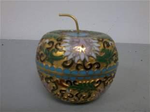 Very fine Chinese cloisonne apple shape box