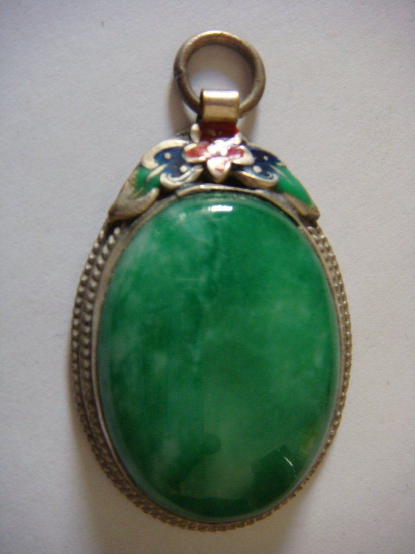 Emerald Green Jade Pendant with Silver Frame