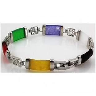 A Beautiful Sterling Silver Multi Jade Bracelet