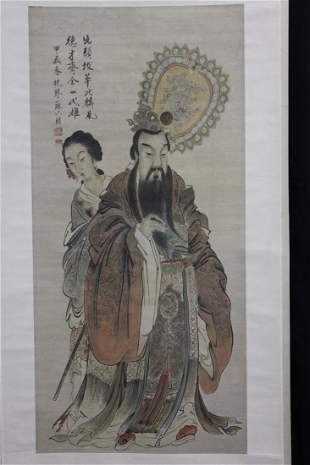 A very fine Chinese scroll painting by Suliu Peng