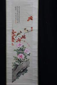 A very fine Chinese scroll painting by HU Mei Niao
