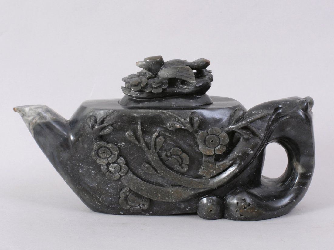 1098: A FINE CHINESE CARVED HETIAN ZI JADE TEA POT AND