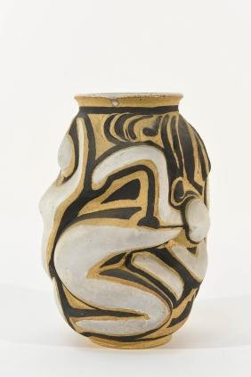 ABSTRACT FIGURES STUDIO POTTERY VASE