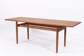 SOLID TEAK COFFEE TABLE IN THE STYLE JACOB KJAER