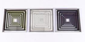 (3) MANNER OF VASARELLY 3D MIRRORED OP-ART