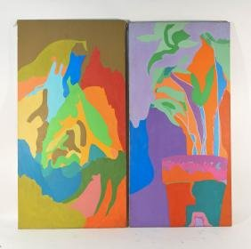 PAIR OF ABSTRACT O/C PAINTINGS BY CLARK
