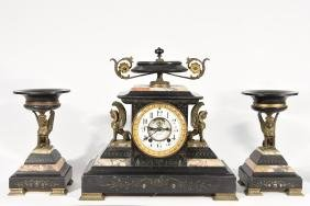 SETH THOMAS EGYPTIAN REVIVAL CLOCK SET