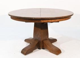 GUSTAV STICKLEY ROUND MISSION OAK TABLE W/ LEAVES