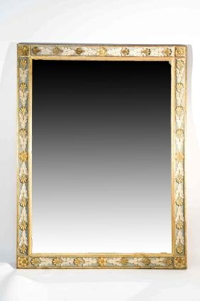 GUSTAVIAN PAINT DECORATED AND GILT MIRROR