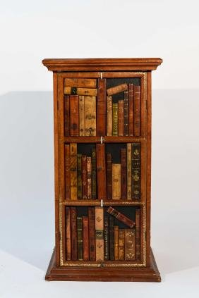 SMALL CABINET W/ FAUX BOOKS