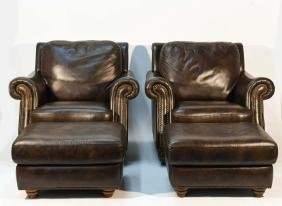 PAIR OF LEATHER CIGAR CHAIRS & OTTOMANS