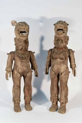 2 CARVED WOODEN ARTICULATED SCULPTURES