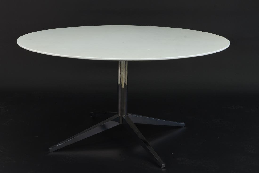 FLORENCE KNOLL ROUND MARBLE TOP DINING TABLE