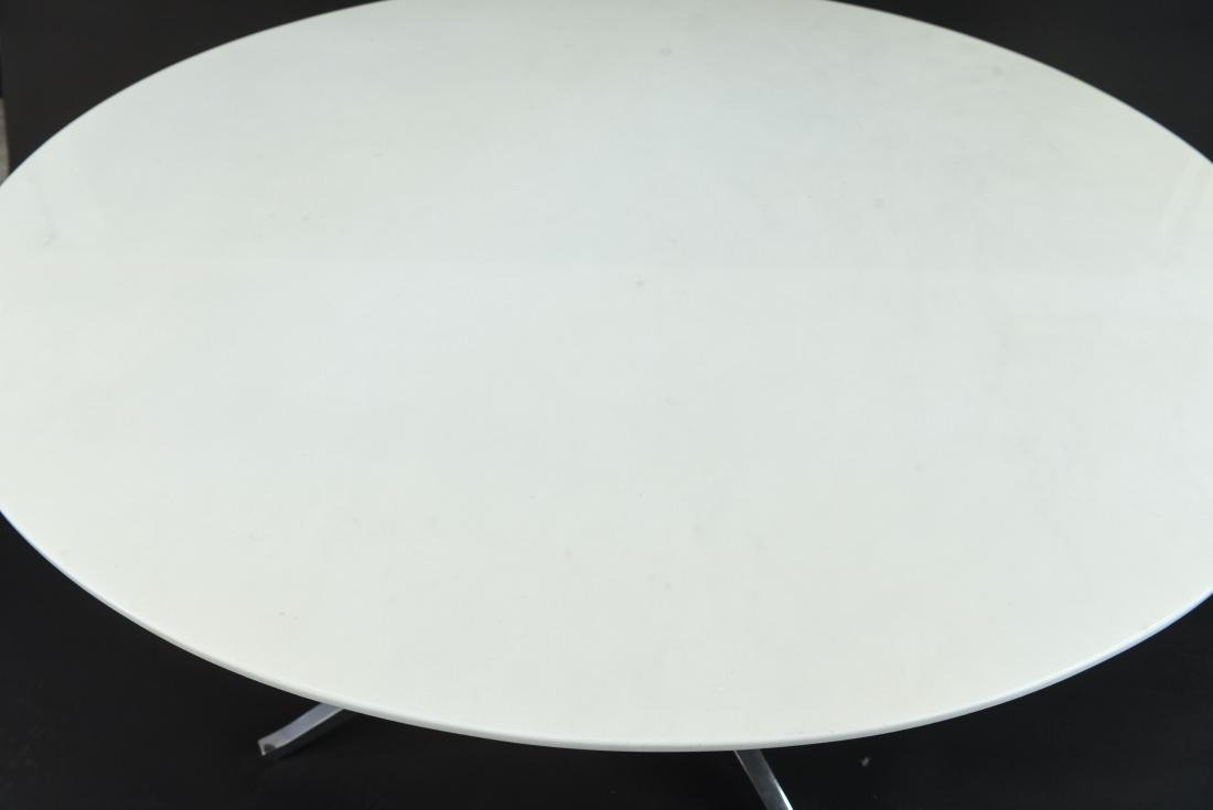 FLORENCE KNOLL ROUND MARBLE TOP DINING TABLE - 2