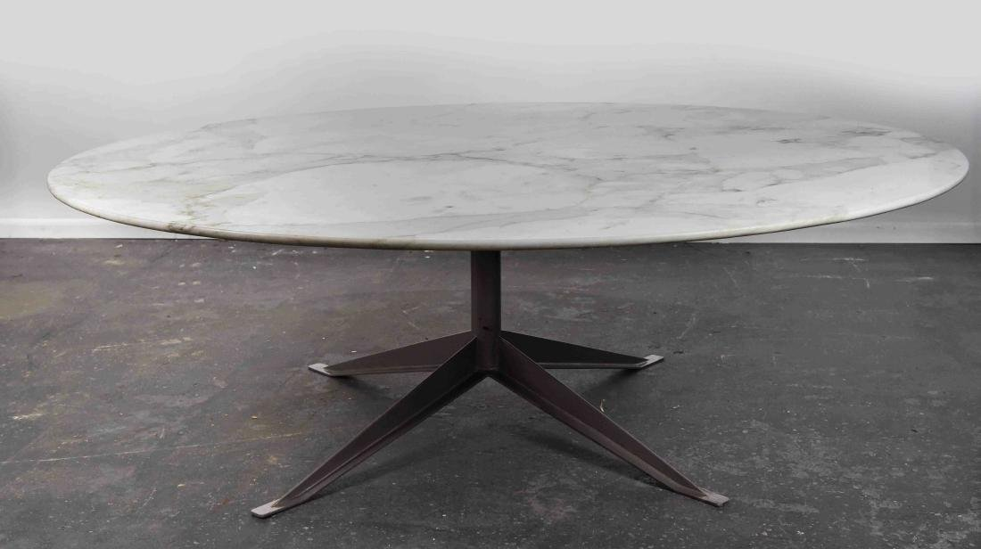 """LARGE 82"""" ROUND KNOLL MARBLE TOP TABLE"""