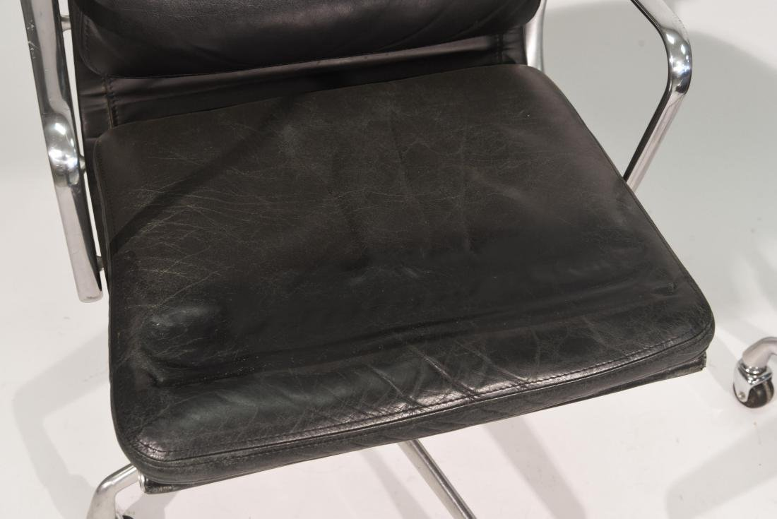 PAIR OF EAMES SOFT PAD LEATHER CHAIRS - 2
