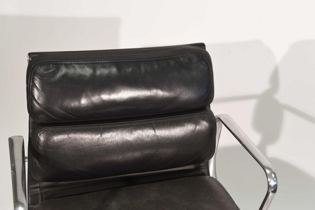 PAIR OF EAMES SOFT PAD LEATHER CHAIRS - 3