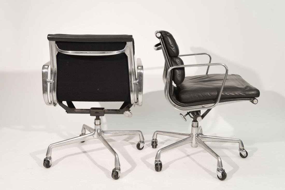PAIR OF EAMES SOFT PAD LEATHER CHAIRS - 5
