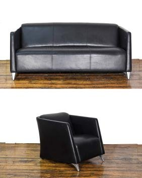 AMERICAN LEATHER SOFA & LOUNGE CHAIR