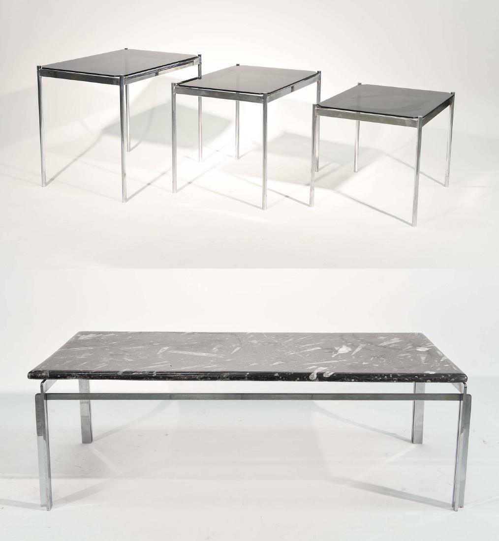 MID CENTURY MODERN CHROME TABLE GROUPING