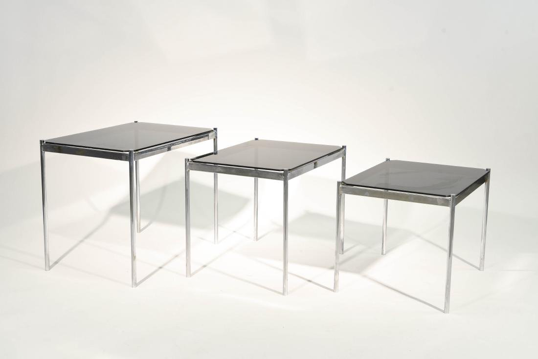 MID CENTURY MODERN CHROME TABLE GROUPING - 6