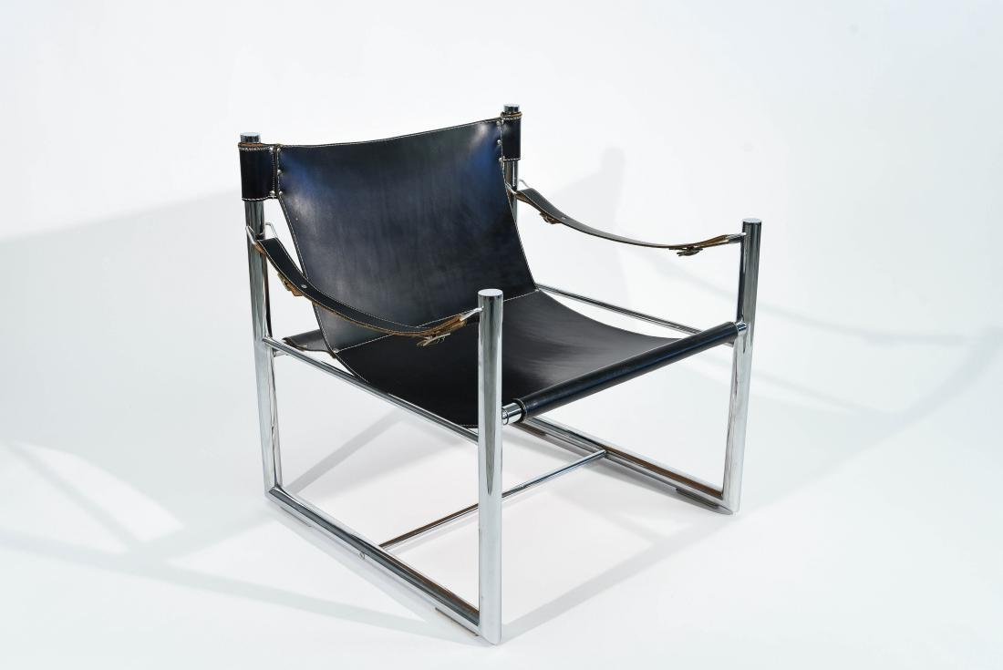 MID-CENTURY CHROME & LEATHER SLING CHAIR
