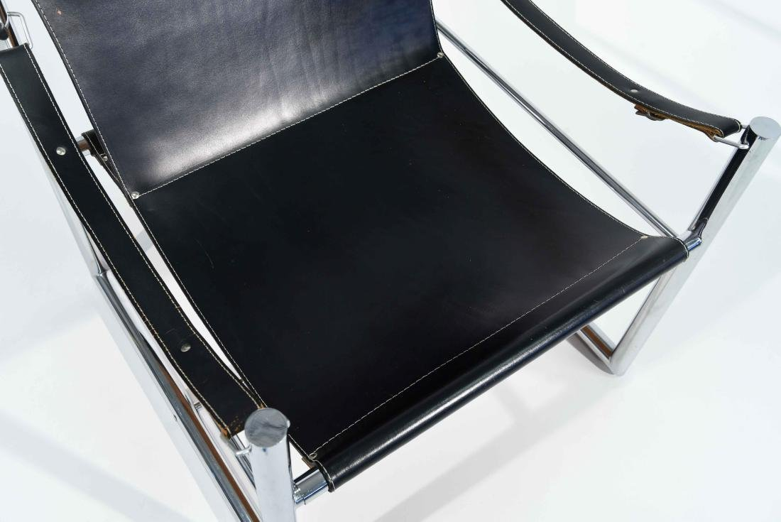 MID-CENTURY CHROME & LEATHER SLING CHAIR - 2