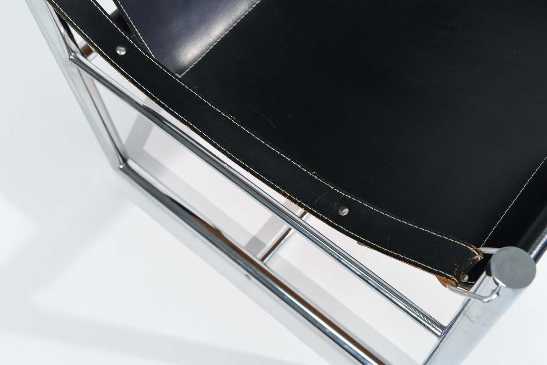 MID-CENTURY CHROME & LEATHER SLING CHAIR - 4