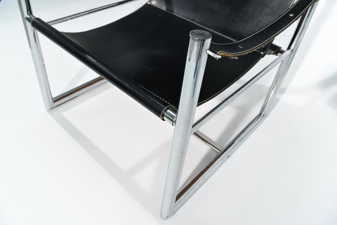 MID-CENTURY CHROME & LEATHER SLING CHAIR - 7