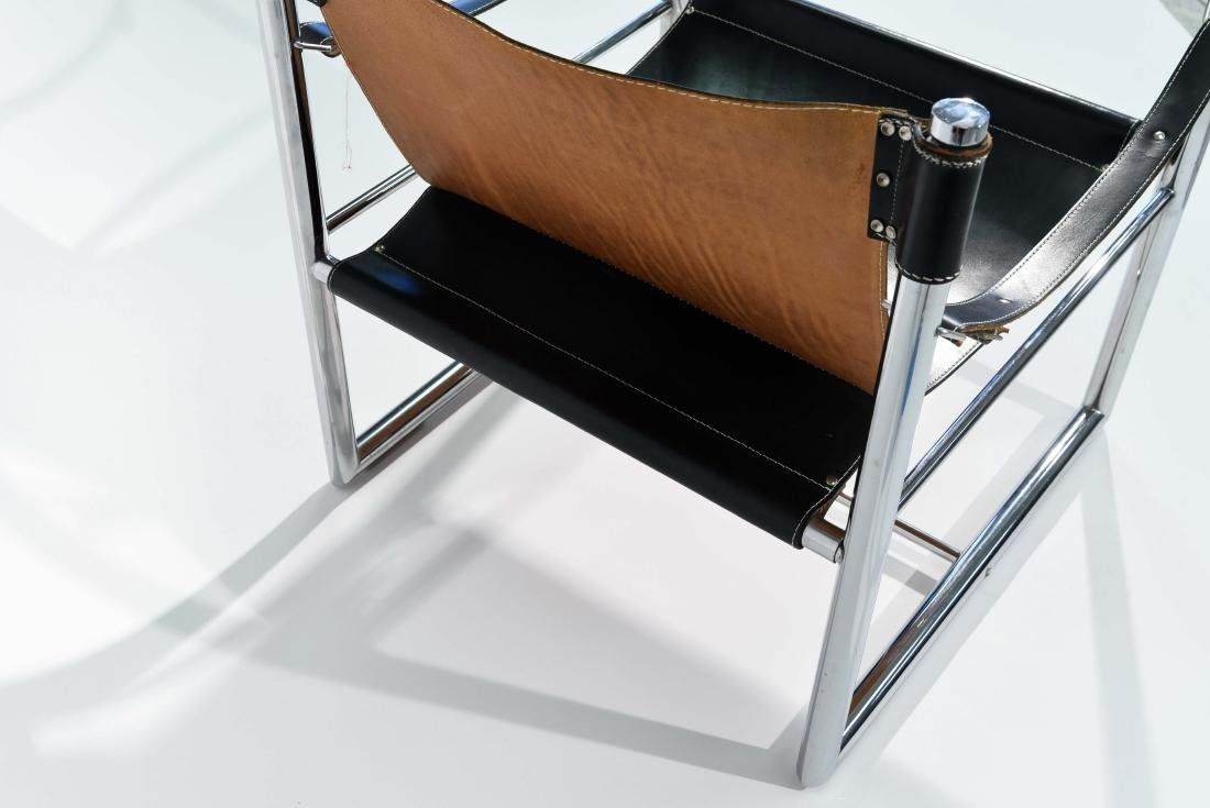 MID-CENTURY CHROME & LEATHER SLING CHAIR - 8