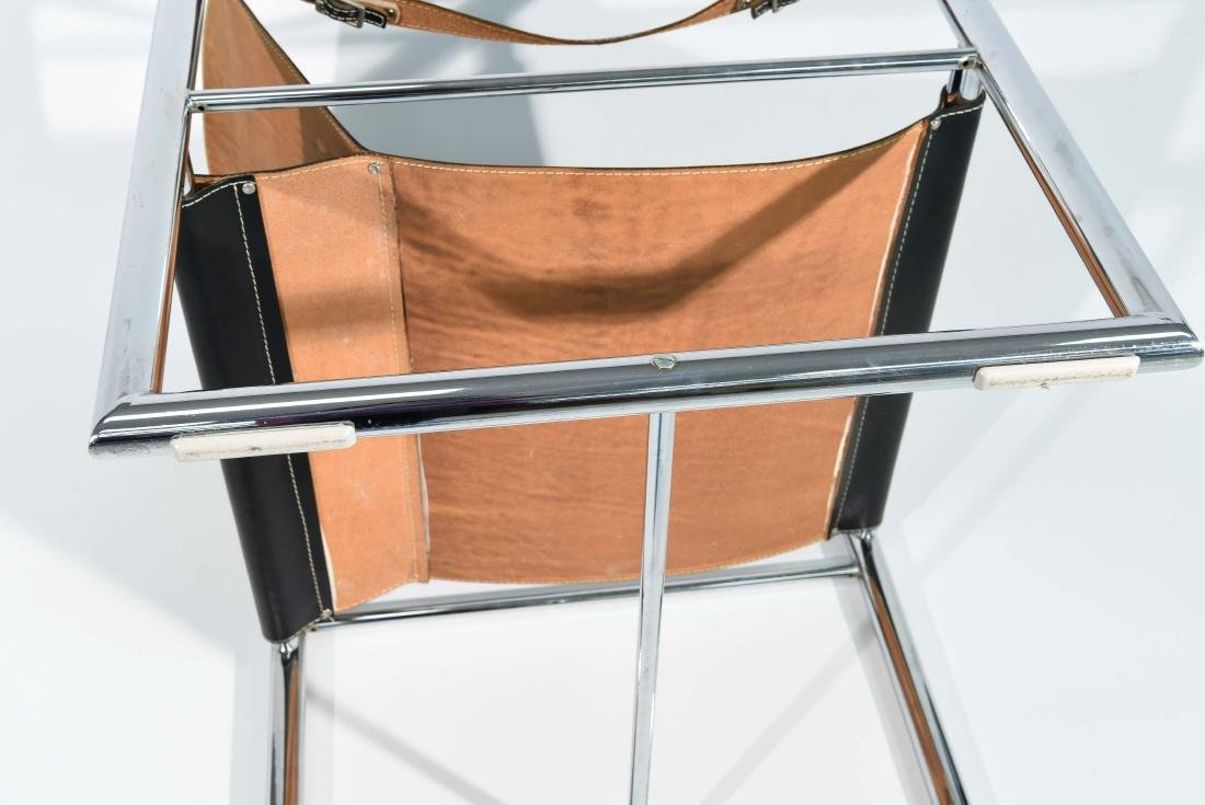 MID-CENTURY CHROME & LEATHER SLING CHAIR - 9