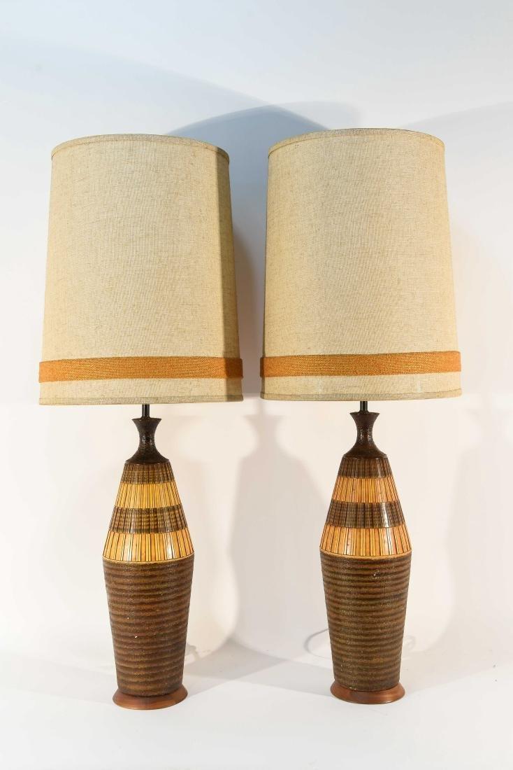 PAIR OF DANISH PLASTER TABLE LAMPS