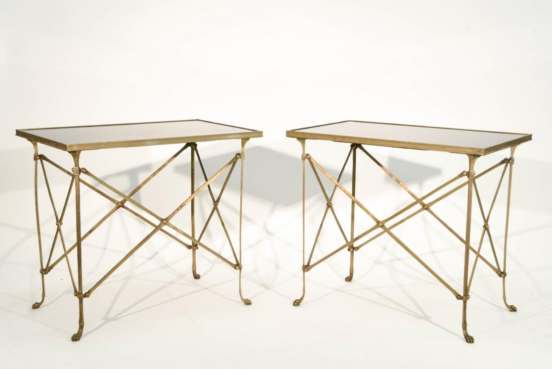 CLASSICAL STYLE MARBLE AND BRONZE SIDE TABLES